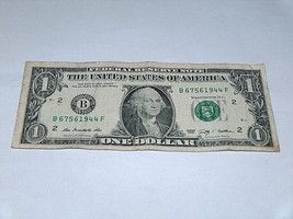 2009 $1 Dollar Bill US Bank Note Date WWII Year Birthday 6756 1944 Fancy Serial image 1