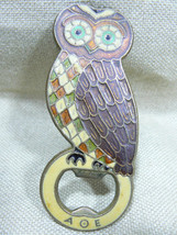 VTG OWL RARE ENAMEL SOLID BRASS BEER SODA COLA BOTTLE OPENER BAR ACCESSO... - $24.90