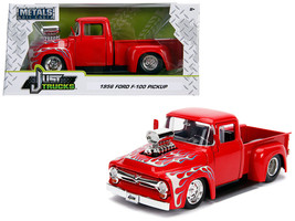"1956 Ford F-100 Pickup Truck with Blower Glossy Red with Flames ""Just Trucks\""  - $34.30"