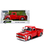"1956 Ford F-100 Pickup Truck with Blower Glossy Red with Flames ""Just T... - $34.30"