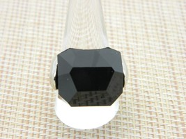 Modernist Silver Tone Large Black Acrylic Faceted Ring Size 10 Vintage - $13.86