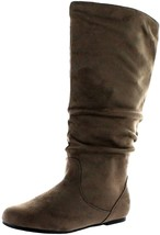 Wild Diva Kalisa-04N Womens Low Heel Slip-On Sloughed Fashion Boots TAUPE 7 - $27.07