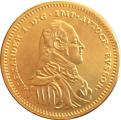 Primary image for  Alexander I  24-K gold-plated Russian medal with Romanov Eagle Museum Re-strike