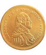 Alexander I  24-K gold-plated Russian medal with Romanov Eagle Museum R... - ₨340.04 INR