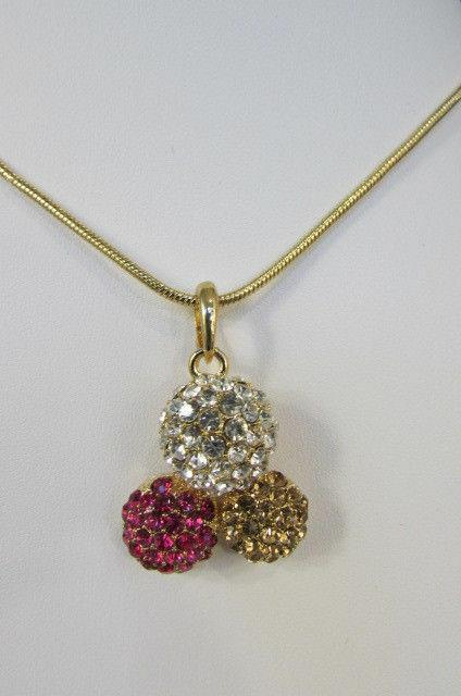 Damen Kurze Modische Halskette Metall 3 Bälle Silber Gold Strass Anhänger Bling image 7