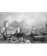 1853 PRINT: Liverpool Docks England & AD: St. Louis MO McMurray Iron Rai... - $19.80