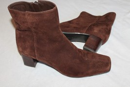 Nine West Brown Suede 8 M  Side Zip Heel Ankle Boots SHOES - $12.87