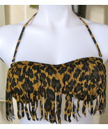 GUESS On The Prowl Soft Cup FRINGE BANDEAU BRA TOP SMALL SM S LEOPARD PRINT - $42.97