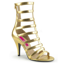 "Pleaser Sexy 4"" Heel Gold Strappy Ankle High Boots DRE438/GPU Large Sizes - $66.95"