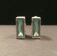 70s Givenchy Paris New York clip on earrings with blue/green faceted glass stone image 1