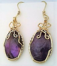 Purple Fluorite Gold Wire Wrap Earrings 5 - $45.00