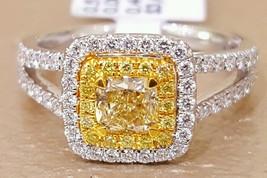 Certified 2.10Ct Cushion Cut Fancy Yellow Diamond Engagement Ring 14K Wh... - $250.87