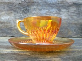 Orange, Iridescent, Jeanette Glass, Anniversary Pattern, Cup and Saucer,... - $14.00
