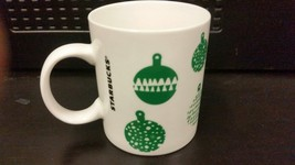 STARBUCKS Holiday Mug White Green Christmas Balls 2016 12oz New Fast Wor... - $16.95