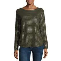Nwt $27 St. Johns Bay Moss Oak Metallic Stripe Long Sleeve Te Top Size Medium - $13.36