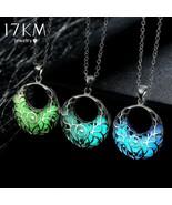 17KM® Necklace Hollow Out Heart Pendant Glow In Dark Long Water Drop Glo... - $4.69