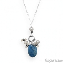 Handmade Sterling Silver Necklace with Oval Blu... - $55.99