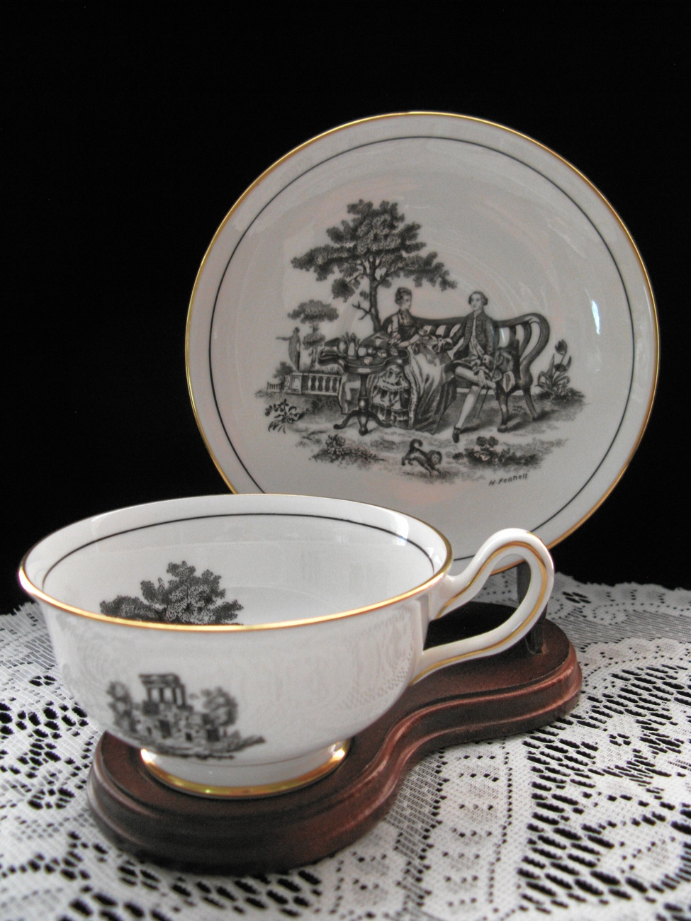 Primary image for Royal Chelsea Black & White Romantic Fine Bone China Cup & Saucer