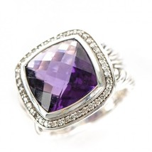 David Yurman Albion Ring with Amethyst and Diamonds, 14mm - $1,000.00