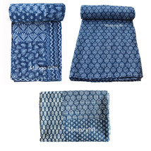 3 Indigo Kantha Quilts Vintage Throw Handmade Twin Cotton Blankets Whole... - $98.18