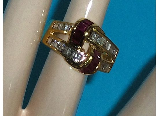Technibond Created Pink Sapphire and CZ Simulated Diamond Ring Size 8
