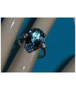 Sterling Silver Blue Topaz Pear Shaped Size 7 - $59.00