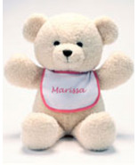 "Personalized Bib Buddy 18"" Bear with Red Trim Bib  - $25.00"