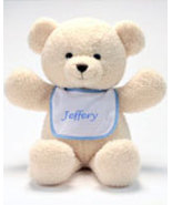 "Personalized Bib Buddy 18"" Bear with Blue Trim Bib  - $25.00"