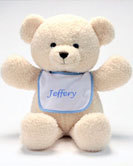 "Personalized Bib Buddy 18"" Bear with Blue Trim Bib"