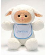 "Personalized Bib Buddy 18"" Lamb with BlueTrim Bib  - $25.00"