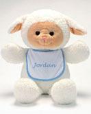 "Personalized Bib Buddy 18"" Lamb with BlueTrim Bib"