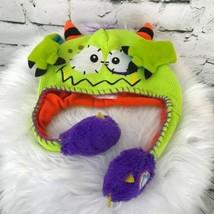 Flipeeze Kids One Sz Hat Green Horned Monster Trapper Winter Cap Knit Be... - $14.84