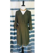IZ Byer Dress NWT Olive Green Sz L Belted Lined Semi Sheer 3/4 Sleeve Zi... - $39.19