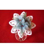 "Vintage Floral Deco Vase w/ light blue handmade nylon flowers 4""x6.5"" Gi... - $19.95"
