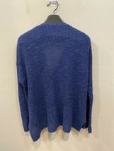 Eileen Fisher Blue Large Knit Cardigan Sweater Zip Front Organic Linen Cotton image 3
