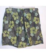 Merona Mens Green Floral Print Swim Shorts w/ Mesh Lining Size Large VGUC - $9.49