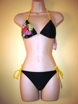 NWT HIGH FASHION 2PC BIKINI SWIMSUIT, SPLIT,BLACK,SZ XS - $29.56