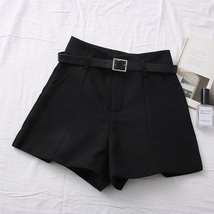 New black high waisted women shorts with pockets and belt spring summer - $32.00