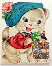 Unused Vintage Card Wishing Well Mother's Day to Auntie Kitten Cat Die Cut - $12.86