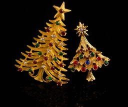 Vintage Christmas Tree brooch set / Signed MYLU star pin / Christmas gift for he image 1