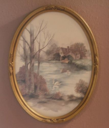 Vintage Home Interior Lake Print with Swan F Nassa Lithograph