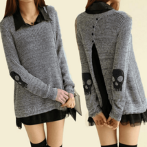 Casual Long Sleeve Skulls Pattern Pullover Sweater - $22.00