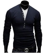 Men's Long Sleeve V-Neck Tee & Tops Stylish Autumn Casual Solid Breasted... - $26.76