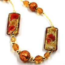 LONG NECKLACE AMBER MURANO GLASS RECTANGLE TUBE, SPHERE, GOLD LEAF, ITALY MADE image 3