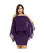 Women Plus Size Dress Ladder Cut Capelet sleeve Sheer Sheath Pencil Dre... - $28.88