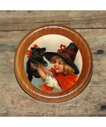 Halloween WITCH GIRL & BLACK CAT Altered Art Tie Tack or Ring or Brooch pin - $9.73