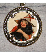 Halloween WITCH GIRL & BLACK CAT Art Large Ornament Frame Pendant 4 Necklace - $11.05