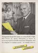 Max Factor 1959 AD Western Union Telegram Beauty Cosmetics Guru Communication - $10.99