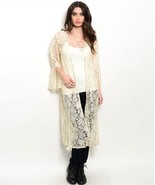 New Cream Lace Kimono Duster Bell Sleeves S - $20.00