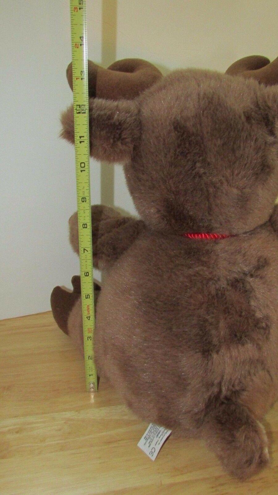 """Disney 14"""" Plush reindeer pot round belly red cord neck tie"""